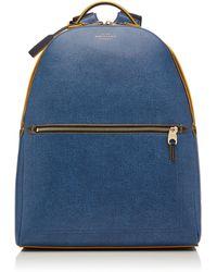 Smythson Bond Leather Backpack - Blue