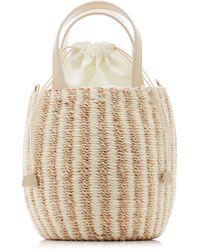 Kayu Tayla Canvas And Woven Straw Top Handle Bag - White