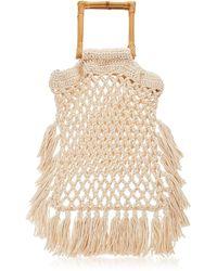 Nannacay Narciso Fringed Macramé Handle Bag - White