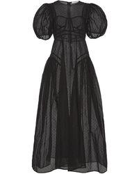 Cecilie Bahnsen Hollis Puffed-sleeve Organza Gown - Black