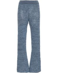 Alanui Net Knit Flared Trousers - Blue