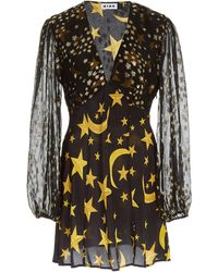 RIXO London Lia Star-print Silk Mini Dress - Black