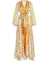 Silvia Tcherassi Connie Striped Silk Maxi Dress - Orange