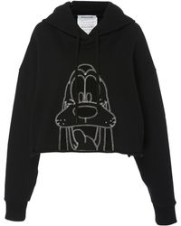 Monse Embroidered Pluto Cropped Hoodie - Black