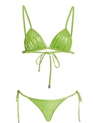 The Attico Metallic Triangle Bikini - Green