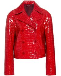Sies Marjan Carla Croc-effect Patent Leather Jacket - Red
