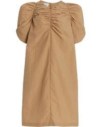 Deveaux Suzy Ruched Poplin Dress - Natural