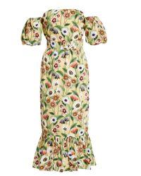 Borgo De Nor Aleila Floral-print Cotton-poplin Midi Dress - Yellow