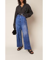 Balenciaga Oversized Plaid Cotton Pajama Shirt - Blue