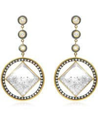 Moritz Glik 18k Gold, Blackened Silver, Diamond And Sapphire Earrings - Metallic