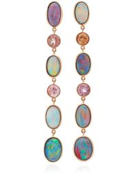 Katherine Jetter - One-of-a-kind Long Opal And Tourmaline Drop Earrings - Lyst