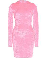 Balenciaga Crushed Velvet Biker Short Mini Dress - Pink
