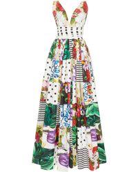 Dolce & Gabbana Patchwork Cotton-poplin Gown - Multicolour