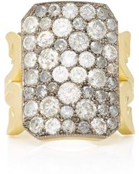 Sylva & Cie | Ten Table 18k Gold, Diamond, And Sterling Silver Ring | Lyst