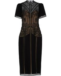 Zuhair Murad Enkei Embroidered Crepe And Silk Lace Midi Dress - Black