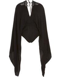 Zuhair Murad Cape Bodysuit - Black