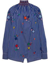 Prada Embroidered Cotton Smocked Top - Blue