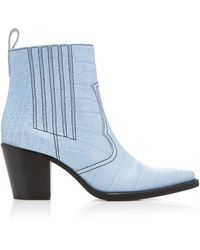 Ganni Western Boot - Blue