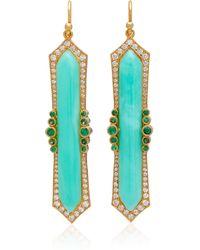 Arman Sarkisyan - 22k Gold, Chrysoprase And Diamond Earrings - Lyst