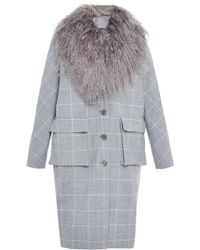 Lela Rose | Cocoon Coat With Fur Collar | Lyst