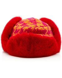Albertus Swanepoel Exclusive Marley Checked Wool And Fox Fur Hat - Red