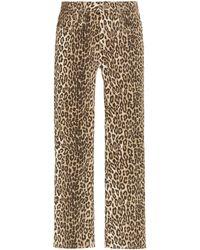 R13 Leopard-print Stretch Mid-rise Cropped Kick-fit Jeans - Multicolour