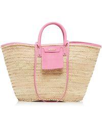Jacquemus Le Grand Panier Soleil Nubuck-trimmed Straw Bag - Pink
