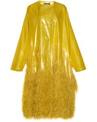 Rochas Oxford Panne Velvet Oversized Coat With Ostrich Feathers - Yellow