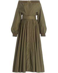 Brandon Maxwell Off-the-shoulder Taffeta Midi Dress - Green