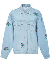 Ksenia Schnaider - Light Wash Denim Jacket With Embroidered Flowers - Lyst