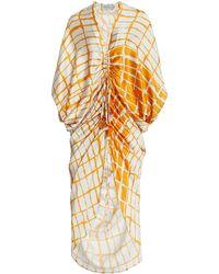 Silvia Tcherassi Cloister Ruched Printed Silk Maxi Dress - Multicolour