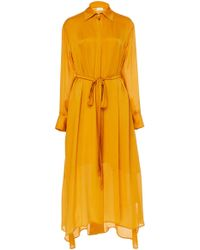 ARJE Drea Oversized Silk Maxi Shirt Dress - Orange