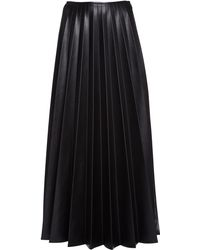 Peter Do Pleated Vegan Leather Maxi Skirt - Black