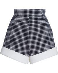 Sara Battaglia - Cotton High-waisted Plaid Shorts - Lyst
