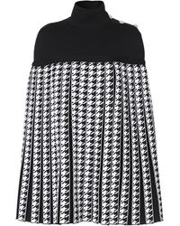 Balmain Pleated Houndstooth Cady Turtleneck Poncho - Black