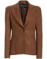 Brandon Maxwell Puff-sleeve Plaid Wool Blazer - Multicolour