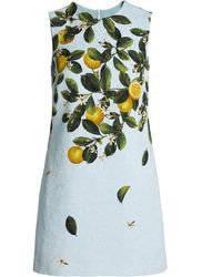 Oscar de la Renta Lemon-print Silk-blend Jacquard Mini Dress - Multicolor