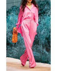 Ralph & Russo Drawstring Silk-satin Wide-leg Trousers - Pink
