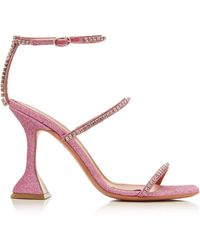 AMINA MUADDI Gilda Pink Sandals With Geometric Heel And Thin Glittery Straps Covered By Tonal Rhinestones.