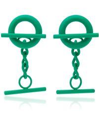 Monse Enamel Cuff Link Earring - Green