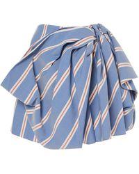 Carolina Herrera Knotted Crepe Mini Skirt - Blue