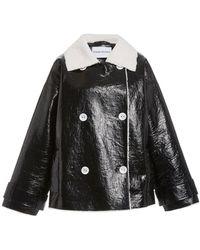 Stand Studio Marushka Faux-shearling Trench Coat - Black