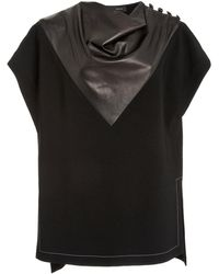 Proenza Schouler Leather-inset Crepe Top - Black