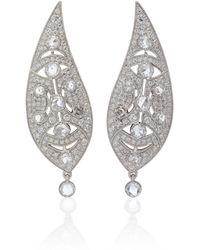 Noa - Art Deco 18k White Gold Diamond Earrings - Lyst