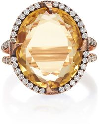 Sylva & Cie - 14k Rose Gold, Citrine And Diamond Ring - Lyst