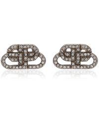 Balenciaga Bb Crystal-embellished Silver-tone Earrings - Metallic