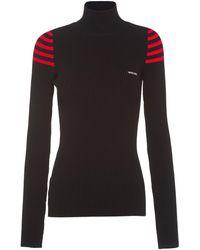 Miu Miu Turtleneck Ribbed Knit Sweater - Black