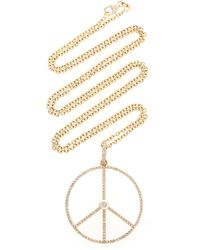 Sheryl Lowe - 14k Yellow Gold Peace Sign Necklace - Lyst