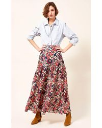 Chufy Cici Printed Tiered Cotton And Silk-blend Maxi Skirt - Multicolour