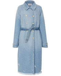 FRAME   Double-breasted Denim Trench Coat   Lyst